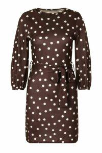 Womens Polka Dot Belted Shift Dress - Black - 14, Black