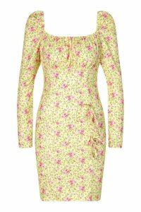 Womens Milkmaid Bow Detail Dress - Yellow - 14, Yellow