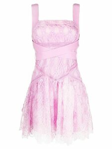 Self-Portrait lace mini dress - PINK