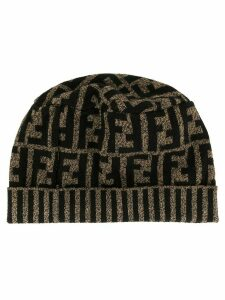 Fendi Pre-Owned Zucca pattern women's knitted hat - Brown