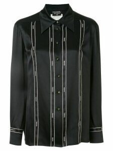 Chanel Pre-Owned 1994 CC long sleeve bow tape shirt - Black