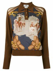 Hermès horse print logos long sleeve tops - Brown
