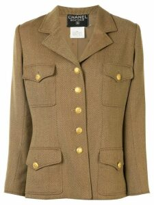 Chanel Pre-Owned 1996s single-breasted long sleeve coat jacket - Brown