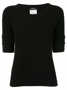 Chanel Pre-Owned 1996s CC round neck short sleeve knit tops - Black