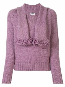 Chanel Pre-Owned CC stole motif long sleeve knit jumper tops - PURPLE