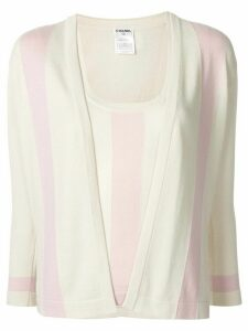 Chanel Pre-Owned flared striped blouse - NEUTRALS
