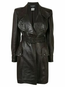 Chanel Pre-Owned notched belted midi coat - Brown