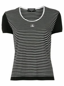 Chanel Pre-Owned round neck border short sleeve tops - Black