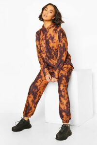 Womens Acid Wash Oversized Hoodie Tracksuit - Black - M/L, Black