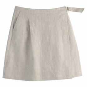 Linen Two Pocket Wrapover Skirt