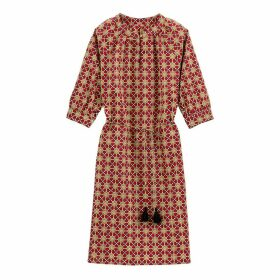 Cotton Tile Print Shift Dress with Tassels