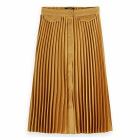 Pleated Button Down Midi Skirt