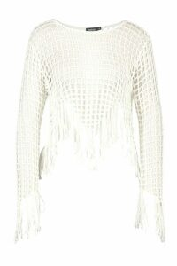 Womens Fringed Crochet Knit Beach Top - White - M, White