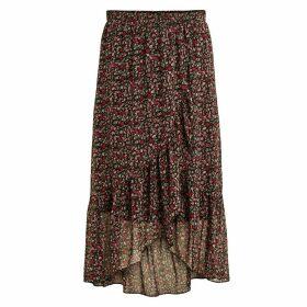 Long Ruffled Floral Skirt