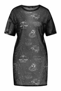 Womens Tall Zodiac Print Mesh T-Shirt Dress - Black - 14, Black