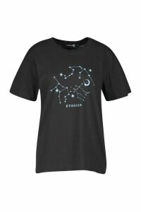 Womens Tall Stargazing Printed T-Shirt - Black - M, Black