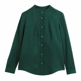Long-Sleeved Mandarin Collar Shirt in Linen
