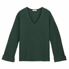 Chunky Knit Ribbed Jumper with V-Neck