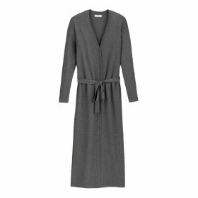 Longline Fine Knit Cardigan with Tie-Belt