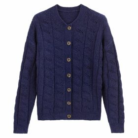 Chunky Pointelle Knit Cardigan with Faux Tortoiseshell Buttons