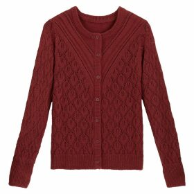 Pointelle Knit Cardigan with Crew Neck