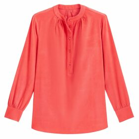 Corduroy Grandad-Collar Blouse with 3/4 Length Sleeves