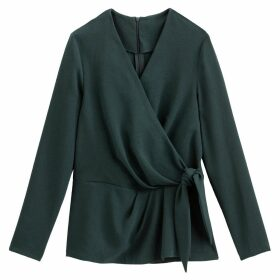Cotton Wrapover Blouse with Long Sleeves and Tie-Waist