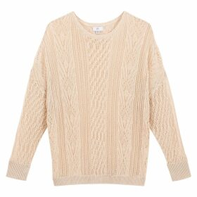 Cotton Mix Openwork Jumper with Boat-Neck