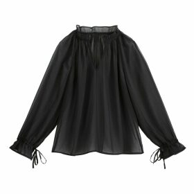High-Neck Blouse with Ruffles and Sheer Sleeves