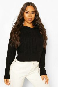 Womens Cable Knit Hoodie - Black - M, Black
