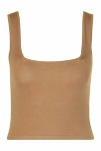 Womens Soft Knit Square Neck Crop Knitted Top - Beige - 14, Beige