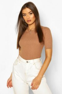 Womens Rib Knit Crew Neck Short Sleeve Knitted Top - Beige - M, Beige