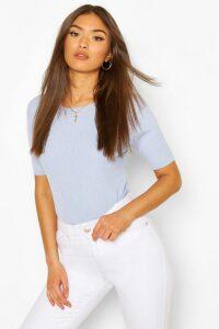 Womens Rib Knit Crew Neck Short Sleeve Top - Blue - M, Blue