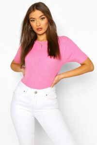 Womens Rib Knit Crew Neck Short Sleeve Top - Pink - M, Pink