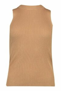 Womens Rib Knit Crew Neck Racer Top - Beige - M, Beige