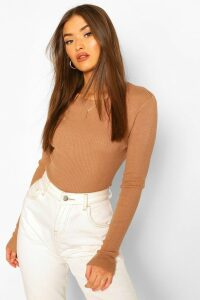 Womens Rib Know Crew Neck Long Sleeve Top - Beige - M, Beige