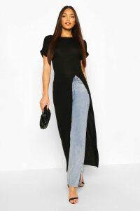 Womens Tall Basic Jersey Maxi Split Top - Black - 16, Black