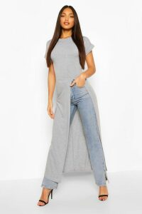 Womens Tall Basic Jersey Maxi Split Top - Grey - 16, Grey