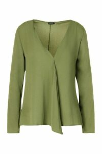 Womens Woven Long Sleeve Blouse - Green - 12, Green
