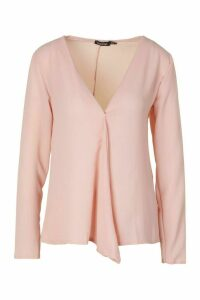 Womens Woven Long Sleeve Blouse - Pink - 10, Pink