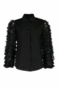 Womens Floral Applique Organza Shirt - Black - 8, Black
