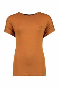 Womens Woman Pocket Print T-Shirt - Beige - 16, Beige