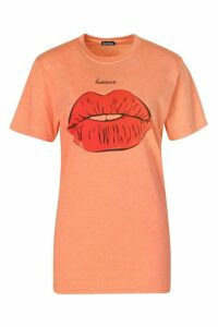Womens Graphic Lips T-Shirt - Orange - S, Orange