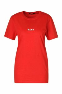 Womens Baby Micro Print Slogan T-Shirt - Red - Xl, Red