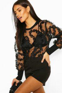 Womens Applique Mesh Detail Top - Black - 14, Black
