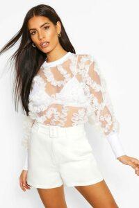 Womens Applique Mesh Detail Top - White - 14, White