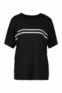 Womens Sports Striped Oversized T-Shirt - Black - 12, Black
