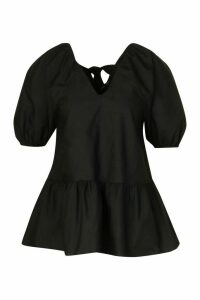 Womens Tie Back Cotton Mix Smock Top - Black - 14, Black