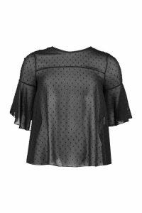 Womens Frill Sleeve Dobby Mesh Blouse - Black - 14, Black
