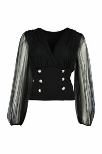 Womens Mesh Puff Sleeve Gold Button Blouse - Black - M, Black
